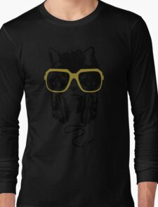 Hip Hop Angry Cat Design Long Sleeve T-Shirt