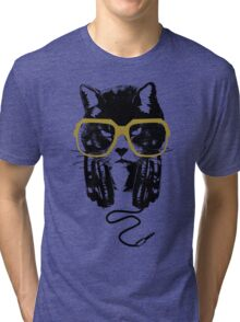 Hip Hop Angry Cat Design Tri-blend T-Shirt