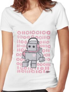 I Love You Binary Robot Women's Fitted V-Neck T-Shirt