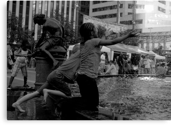 Children at the Fountain by Phil Campus