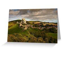 Sunlight shines on Corfe castle  Greeting Card