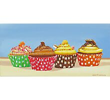 4 delicious cup cakes Photographic Print