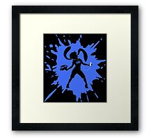 Splat Girl - Blue Framed Print