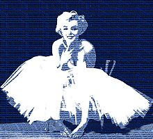 Marilyn Monroe in white dress with blue text by yin888