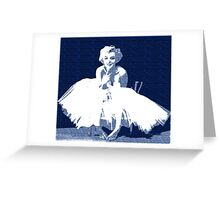 Marilyn Monroe in white dress with blue text Greeting Card