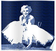 Marilyn Monroe in white dress with blue text Poster