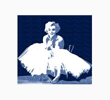 Marilyn Monroe in white dress with blue text Unisex T-Shirt