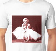 Marilyn Monroe in white dress with red text Unisex T-Shirt