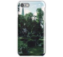 Across Bishop's cemetary to Cathedral Nidaros Cathedral Trondheim Norway 19840622 0032 iPhone Case/Skin
