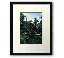 Across Bishop's cemetary to Cathedral Nidaros Cathedral Trondheim Norway 19840622 0032 Framed Print