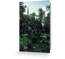 Across Bishop's cemetary to Cathedral Nidaros Cathedral Trondheim Norway 19840622 0032 Greeting Card