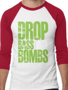 Drop Bass Not Bombs (Neon Green) Men's Baseball ¾ T-Shirt