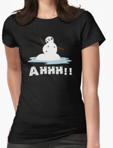 Melting Snowman Womens Fitted T-Shirt