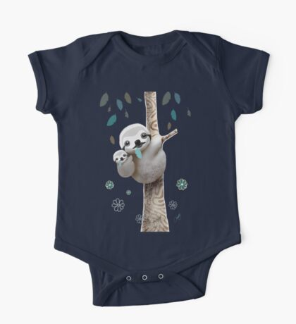 Baby Sloth Midnight One Piece - Short Sleeve