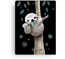 Baby Sloth Midnight Canvas Print