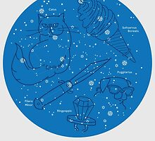 Constellations of the Southern Hemisphere- Sept & Oct (Blue) by HeyRockee