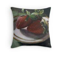 Strawberry Still Life Throw Pillow