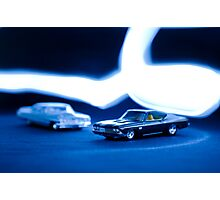 toy car, light painting Photographic Print