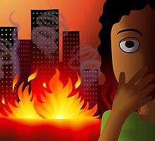 Frightened girl on seeing the fire accident by tillydesign