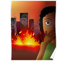 Frightened girl on seeing the fire accident Poster
