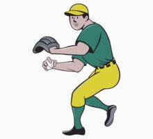 American Baseball Player OutFielder Throwing Ball Cartoon by patrimonio