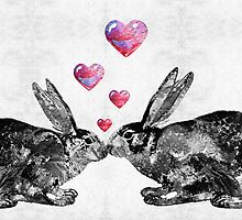 Bunny Rabbit Art - Hopped Up On Love 2 - By Sharon Cummings by Sharon Cummings