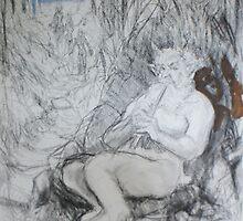 Satyr in progress day 1 by Ken Tregoning