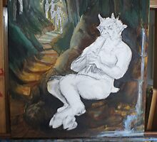 Satyr the piper (inpro end of day one) by Ken Tregoning