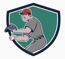 Baseball Player OutFielder Throwing Ball Crest Cartoon by patrimonio
