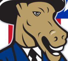 Democrat Donkey Mascot Thumbs Up Flag Cartoon Sticker