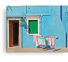 Burano - Laundry on the sun Canvas Print