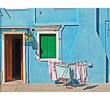 Burano - Laundry on the sun Photographic Print