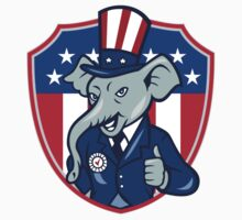Republican Elephant Mascot Thumbs Up USA Flag Cartoon by patrimonio