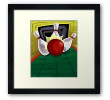 bowling pin bats being hit by the ball Framed Print