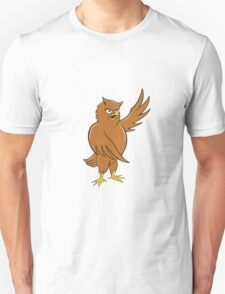 Owl Standing Pointing Wing Cartoon T-Shirt
