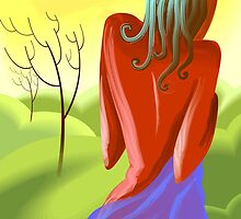 Woman enjoying the beauty of the nature by tillydesign