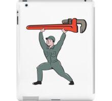 Plumber Lifting Monkey Wrench Cartoon iPad Case/Skin