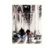 couple under el, chicago Art Print