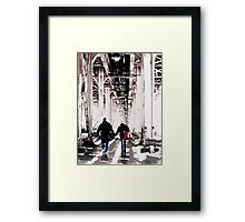 couple under el, chicago Framed Print