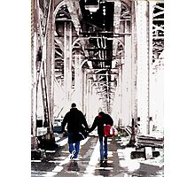 couple under el, chicago Photographic Print