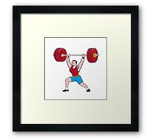 Weightlifter Lifting Barbell Isolated Cartoon Framed Print