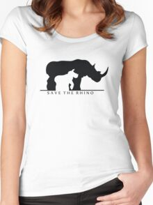 Save The Rhino (White Background) Women's Fitted Scoop T-Shirt
