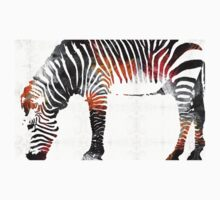 Zebra Black White And Red Orange by Sharon Cummings  One Piece - Long Sleeve