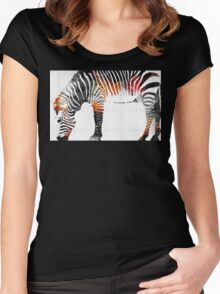 Zebra Black White And Red Orange by Sharon Cummings  Women's Fitted Scoop T-Shirt