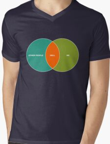 Hell is Other People - Venn Diagram Mens V-Neck T-Shirt
