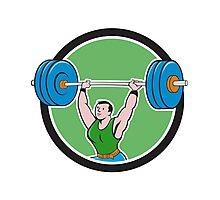 Weightlifter Lifting Barbell Circle Cartoon Photographic Print