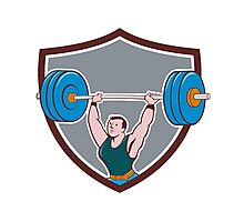 Weightlifter Lifting Barbell Shield Cartoon Photographic Print