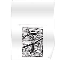 Classic Martini linocut Poster