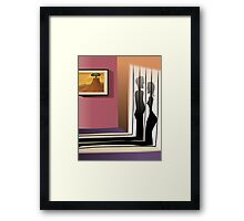 Silhouette of the Romantic couples  Framed Print