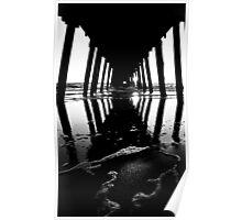 B+W Sunset - Grange Beach, Adelaide. Poster